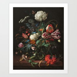 Still Life Parrot Tulips, Peonies, Hibiscus, Hydranga, Periwinkle Flowers in Vase by Jan de Heem Art Print