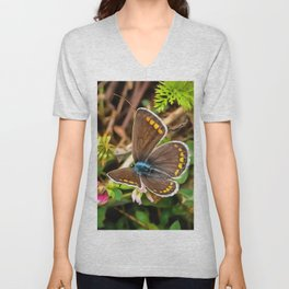 Common Blue Butterfly Polyommatus Icarus Unisex V-Neck
