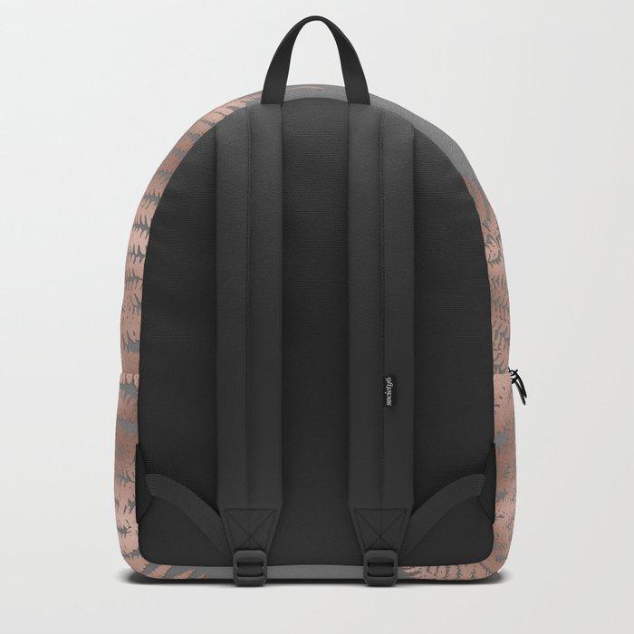 Rosegold pink metal fern leaves on grey background Backpack