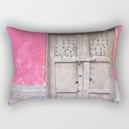 Grey Door on Pink Wall (Retro and Vintage Urban, architecture photography) Rectangular Pillow