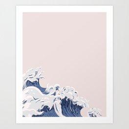 Ocean Wave on Pink Art Print