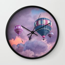 Blue, Pink, and Purple Hot Air Balloons on Pastel Clouds Wall Clock