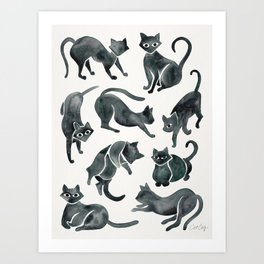Cat Positions – Black Palette Art Print