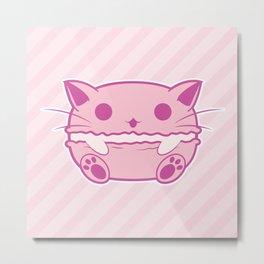 Pink Kawaii Cat Macaroon Metal Print