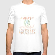 What a Wonderful World, Hand Drawn Quote MEDIUM White Mens Fitted Tee