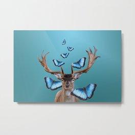 Deer Head with blue morph butterflies around Metal Print