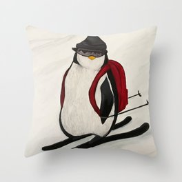 Skiing Penguin Throw Pillow