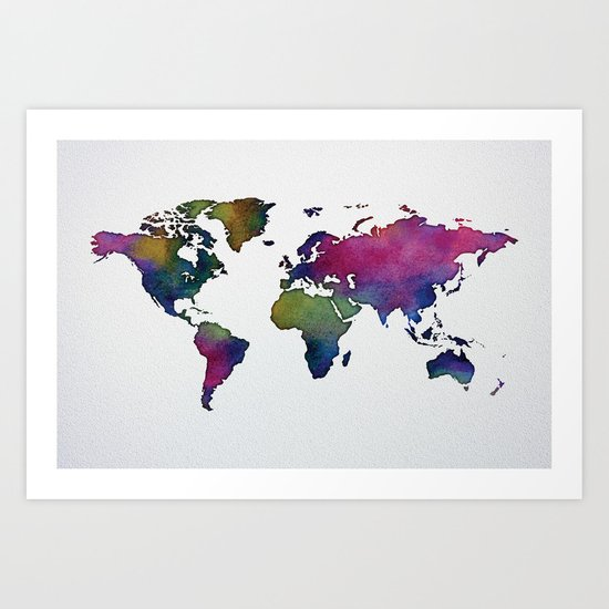 Multicolor World Map 02 Art Print