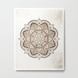 Mandala Brown Floral Pattern on Beige Background Metal Print