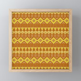 Mudcloth Style 2 in Burnt Orange and Yellow Framed Mini Art Print