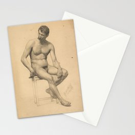 Seated male nude, looking to the left by Gustav Klimt Stationery Cards