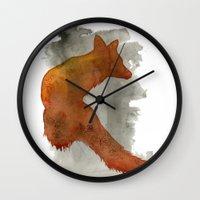 robert farkas Wall Clocks featuring Ode to Robert Farkas by Brown Paper Bunny