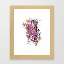 Japanese Lady with a Fan Framed Art Print