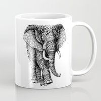bioworkz Mugs featuring Ornate Elephant v.2 by BIOWORKZ