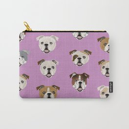 English Bulldog faces cute dog art pet portrait must have gifts for english bulldog owners Carry-All Pouch