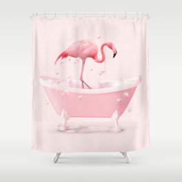 BATHTUB FLAMINGO Shower Curtain