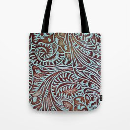 Light Blue & Brown Tooled Leather Tote Bag