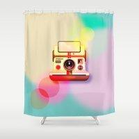polaroid Shower Curtains featuring Polaroid by Tony Vazquez
