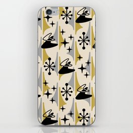 Mid Century Modern Cosmic Boomerang 726 Black Gold and Gray iPhone Skin