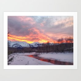 Sunset Over the Mountains Art Print