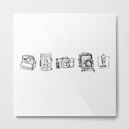 Vintage Camera Line Drawing Metal Print