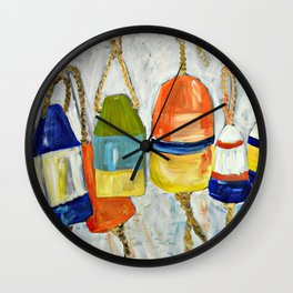 Lobster Buoys Wall Clock