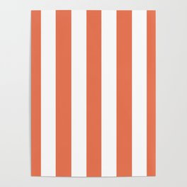 Burnt sienna pink - solid color - white vertical lines pattern Poster