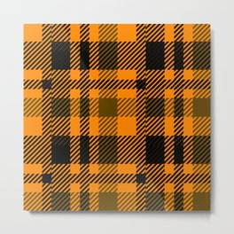 Black and orange tartan pattern Metal Print
