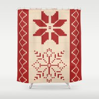 sweater Shower Curtains featuring Christmas Sweater by Minette Wasserman