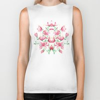 magnolia Biker Tanks featuring magnolia by Simona Borstnar