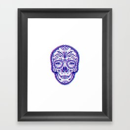 Sugar Skull (Calavera) Chromatic Aberration - Cyan Magenta Framed Art Print