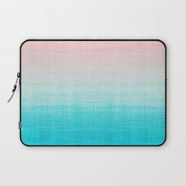 Grunge Pastel Millennial Pink Aqua Blue Teal Mint Linen Pattern Ombre Gradient Texture Laptop Sleeve