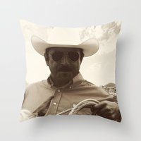cowboy Throw Pillows featuring Cowboy by DistinctyDesign