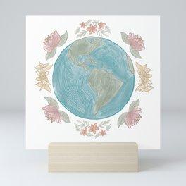 Earth in Bloom / Florals and Globe Circular Print Mini Art Print