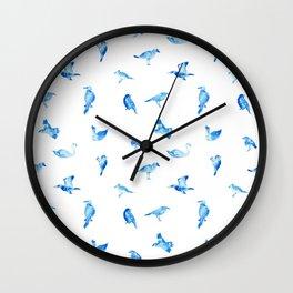 Blue Birds Pattern Wall Clock