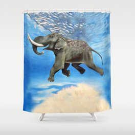 Rajan The Swimming Elephant Shower Curtain