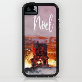 A tiny Christmas village on my mantle says Noel iPhone Case
