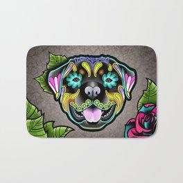 Rottweiler - Day of the Dead Sugar Skull Dog Bath Mat