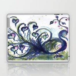 Pink Hearted Peacock watercolor by CheyAnne Sexton Laptop & iPad Skin