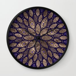 Flower Mandala - Dot Art - Purple and Gold Wall Clock