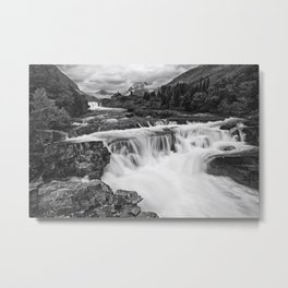 Mountain Paradise in Black and White Metal Print