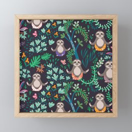 yoga sloths Framed Mini Art Print