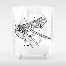 Dragonfly Handmade Drawing, Made in pencil and ink, Tattoo Sketch, Tattoo Flash, Blackwork Shower Curtain