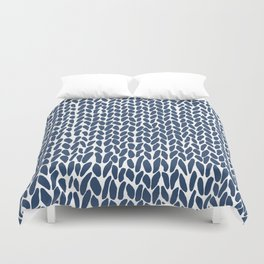 Hand Knit Zoom Navy Duvet Cover