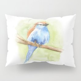 Racket-tailed Roller Watercolor Bird Pillow Sham