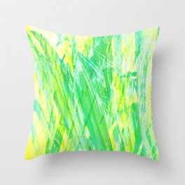 Grassy Abstract in Yellow Green Aqua White #nature #painting Throw Pillow