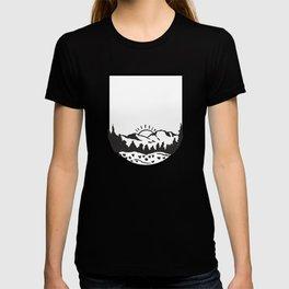 Snowy Mountain Tops And Sun T-shirt