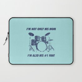 I'm Not Only His Mom Im Also Number 1 Fan Funny Drums Vintage Drummer Distressed Laptop Sleeve
