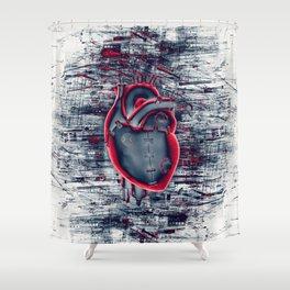 Gamer Heart BLUE CRIMSON / 3D render of mechanical heart Shower Curtain