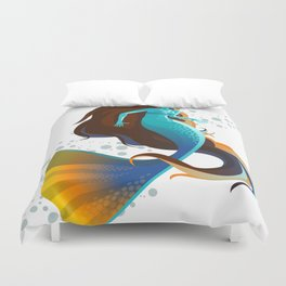 colorful mermaid swimming Duvet Cover